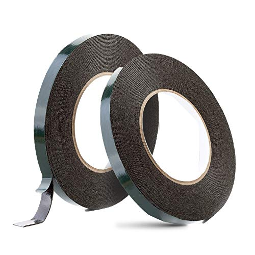 YIXISI 2 Rollos 12mm X 10m Cintas adhesivas de doble cara, Cinta de Montaje de Doble Cara, Adhesiva Doble Cara para Coche Fotos Pared movil, Negro