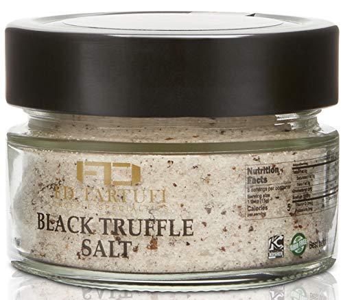 FD TARTUFI black Truffle Salt (120g) 4.23oz Coarse and Fine Natural Sea Salt   non gmo   Made in Italy   kosher   truffles