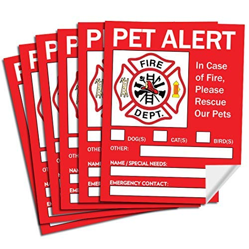Pet Alert Safety Fire Rescue Sticker - Save Our Pets Emergency Pet Inside Decal - In Case of Emergency Danger Pet In House Home Window Door Sign
