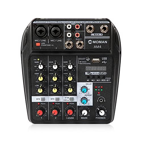 Moman AM4 Mesa-Mezclas-Mezclador-Audio-Mixer USB Bluetooth de 4 Canales Profesional, Mini Consola Mezcladora...