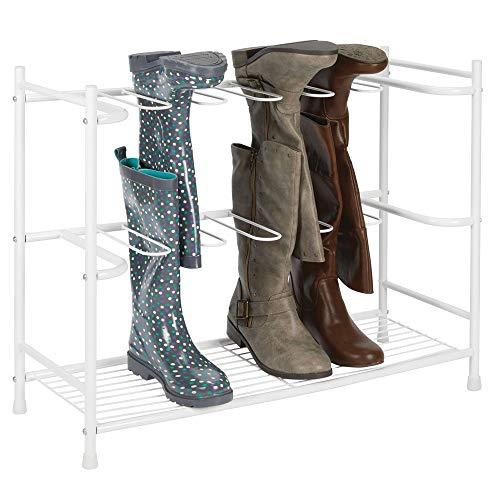 mDesign Zapatero para botas – Estante organizador de zapatos y botas altas – Mueble zapatero ahorrador de espacio para 6 pares de botas de agua, de montar o de mujer – blanco