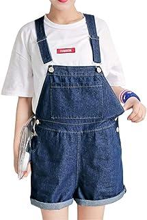 FENIKUSU Denim Jumpsuit for Women Shorts, Plus Size Bib Overalls High Waist Adjustable Relaxed Jeans Rompers