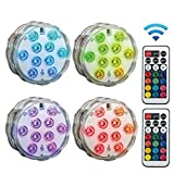 Hot Tub Lights,Boomersun Hot Tub <span class='highlight'><span class='highlight'>Accessories</span></span>,Waterproof Underwater Pond Lights with Remote Controlled,16 Color Changing Submersible LED Lights for Swimming Pool and Home Decorations (4PC)