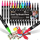Dual Brush Pen Set, 24 Farben, Aquarell Pinselstifte Marker Doppelte Filzstifte für Bullet Journal Kinder, Handlettering, Kalligraphie, Mandala, Malbücher, Pinselspitzen [1-2mm] und Fineliner [0,4mm]