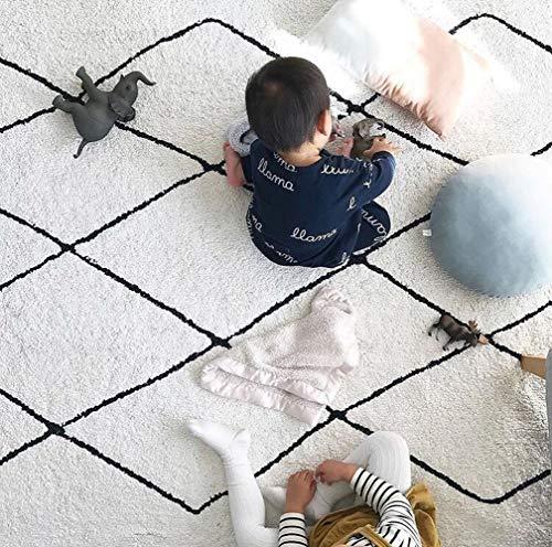 MWJK Alfombra Hecha A Mano Linea De Diamante Plaid Blanco Y Negro Manta De La Sala Alfombra De Juegos Para Bebés Decoración Disparo Alfombra 100 * 150 CM