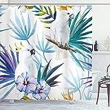 ABAKUHAUS Tropisch Duschvorhang, Aquarell Papagei Palm, mit 12 Ringe Set Wasserdicht Stielvoll Modern Farbfest & Schimmel Resistent, 175x200 cm, Mehrfarbig