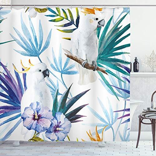ABAKUHAUS Tropisch Duschvorhang, Aquarell Papagei Palm, mit 12 Ringe Set Wasserdicht Stielvoll Modern Farbfest & Schimmel Resistent, 175x180 cm, Mehrfarbig