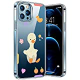 Transparent Hülle Kompatibel mit iPhone 12/12pro, Vergilbungsfrei Stoßfest Anti-Scratch TPU Handyhülle, Cover Bunte-Cartoons-Tiere-Muster-Design-Hülle-Entlein