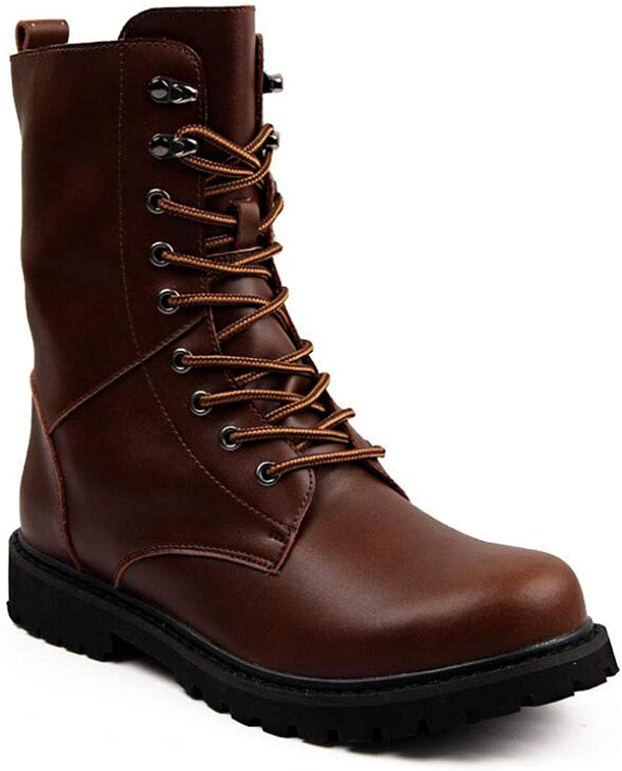 Men's Fashion Boots Leather Fleece Fall Winter Comfort Boots Mid-Calf Boots,Ankle Boots,Comfort Martins Style,Personality Military Boots, Outdoor Travel