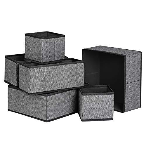 SONGMICS Aufbewahrungsboxen für Unterwäsche, 6er Set, Schubladen-Organizer, Stoffboxen, Aufbewahrungskörbe, Vliesstoff in Leinenoptik, Socken, Krawatten, Schals, schwarz RDZ006B01