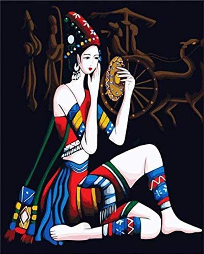 IOIUG Pintura al óleo DIY por Kits de números Maquillaje Retro Mujer...