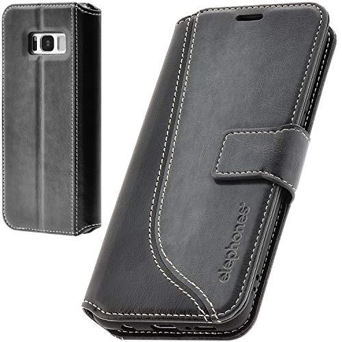elephones Handyhülle für Samsung Galaxy S8 Plus Hülle aus PU Leder Samsung Galaxy S8 Plus Schutzhülle Flip Hülle Klapphülle Handytasche für Samsung S8 Plus Grau