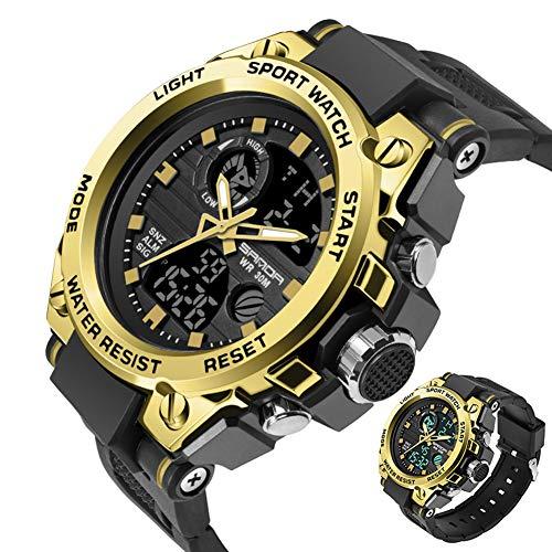 SANDABand Sport Herrenuhren Top-Marke Military Quarzuhr Männer wasserdicht S Shock Clock,BlackGold