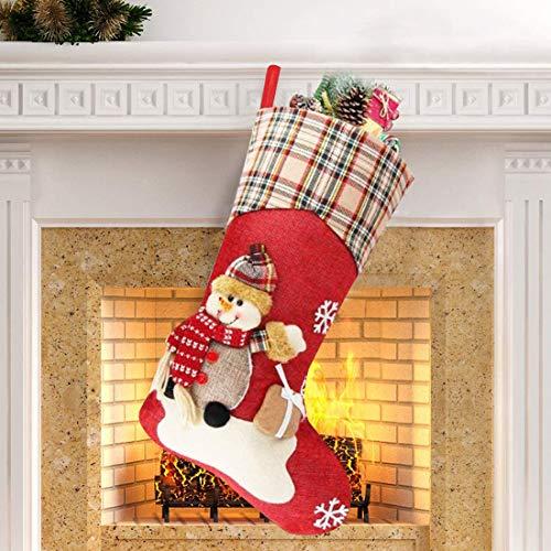 ZSWQ Calcetín de Navidad decoración del hogar de Medias de Navidad con muñeco de Nieve en 3D, decoración para árbol de Navidad, Chimenea, Vacaciones, Fiestas Familiares, Regalos de Caramelo