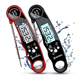 Meat Thermometer 2 Pack, Food and Candy Thermometer Instant Read, SOQOOL Digital Thermometer for Kitchen Cooking Food Candy Oil Deep Fry Outdoor BBQ Grill Smoker, Ultra Fast and Waterproof