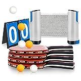 XDDIAS Raquette de Ping Pong Set, 4 Raquette de Tennis de Table + Rétractable Filet de Table Tennis + Carte de Pointage +6 Balle, Set de Tennis de Table pour Débutants et Joueurs Avancés