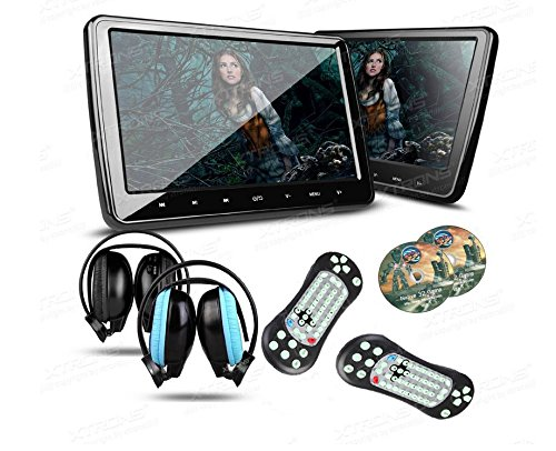 """XTRONS® 2X 10,1 """" Auto DVD CD Player Kopfstütze Headrest HD Monitor Bildschirm HDMI Anschluss Ultra dünn abnehmbar schwarz mit 2 IR Kopfhörer"""