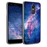 kwmobile Hülle kompatibel mit LG K8 (2018) / K9 - Handyhülle - Handy Hülle Galaxie Sterne Rosa Pink Dunkelblau