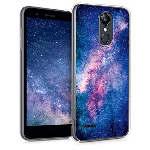 kwmobile Hülle kompatibel mit LG K8 (2018) / K9 - Hülle Handy - Handyhülle Galaxie Sterne Rosa Pink Dunkelblau