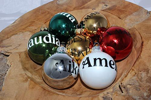 Personalisierte Christbaumkugeln Silber, Christbaumschmuck, Weihnachtsbaumkugel, Weihnachtsbaumschmuck, Tannenbaumkugel, Tannenbaumschmuck, Christbaumkugeln Farbe Silber