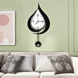 MEISD Large Decorative Wall Clock with Pendulum, 31 Inch Big Water Drop Wall Clocks for Living Room Decor, Modern Wall Clock Battery Operated for Bedroom Kitchen Office, Silent Non Ticking