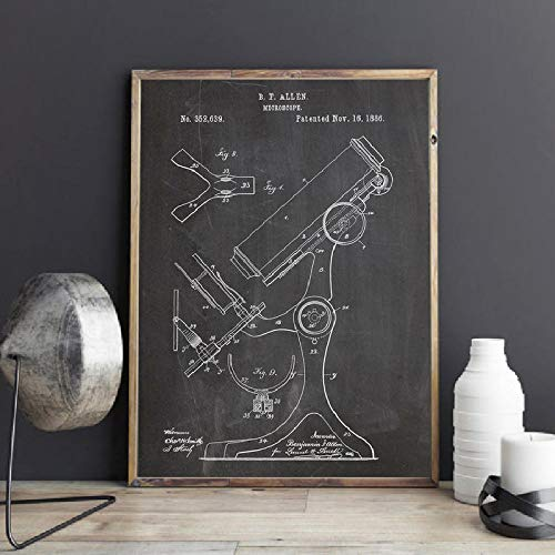 MZYZSL Pharmacy Microscope Science Poster Vintage Patent Chemistry Wall Art,Decor Science Teacher Gift Art Canvas,Painting Picture 60x90cm No Frame