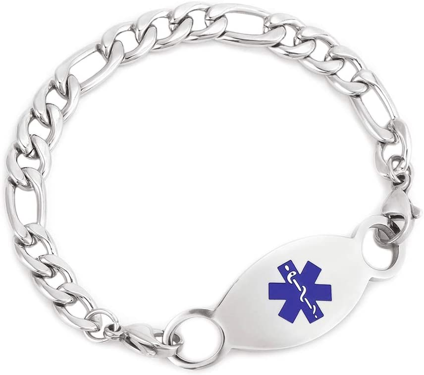 Medical Alert ID Bracelet for Boys Personalized Stainless Steel Seizures Bracelets Figaro Chain with Health Alert Tag Emergency Awareness Bracelets for Girls, 7 inch (Free Engraving)