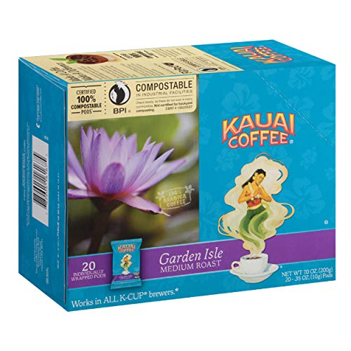 Kauai Coffee Single-Serve Pods, Garden Isle Medium Roast – 100% Arabica Coffee from Hawaii's Largest Coffee Grower, Compatible with Keurig K-Cup Brewers - 20 Count