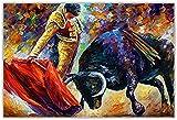 Hatytoyu Carteles de Toreros y corridas de toros españoles Pintura Lienzo Arte de la Pared Lienzo Foto de la Pared decoración de la Sala de Estar decoración del hogar-50x75CM sin Marco