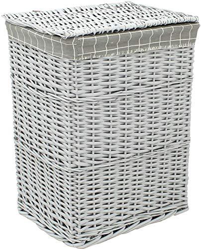 Xicaimen Artículos para el hogar Cesta de lavandería de Mimbre Tapa del Compartimiento de Lino Que se Lava Gris Cesto de baño Almacenamiento de Lona