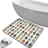 Alfombra de baño antideslizante Robot suave antideslizante Varias figuras de diferentes súper robots en estilo de dibujos animados Fantasía Máquina futurista,multicolor, Para ducha Felpudo Dormitorio