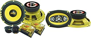 """2Way Custom Component Speaker System 6.5"""" 400 Watt Component with Electroplated Steel Basket & Car Eight Way Speaker System - Pro 6 x 9 Inch 500W 4 Ohm Mid Tweeter Component Audio Sound Speakers"""