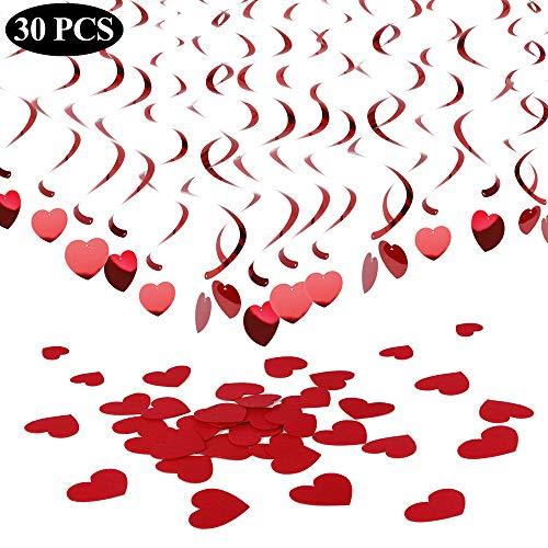 YLIANG Huwelijk hangende spiralen met hartjes, 30 stuks, hartslinger, bruiloft, hangende spiraal, slinger, voor Valentijnsdag, feestdecoratie