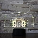 HHANN 3D Luz Nocturna Para Niños, Taj Mahal, India Led Usb Luces Nocturnas Ilusión Lámpara De Mesa Táctil Luces Con Control Remoto Para La Decoración Del Partido Presentes De Cumpleaños