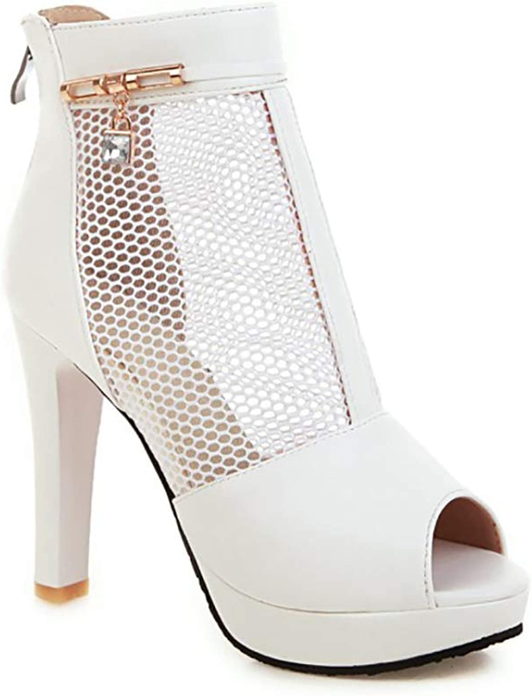 Mzq-yq damen Ladies Mesh Breathable Stiefel, Open Toe High Heel Sandalen, Solid Farbe Back Zipper Design