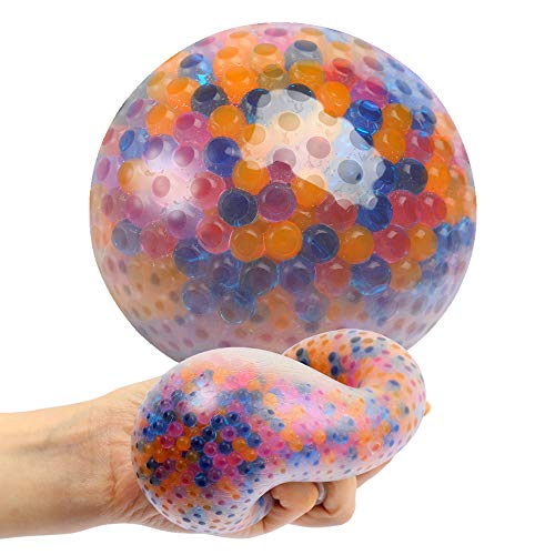 Giant Stress Ball, Colorful Gel Water Beads Ball, Anti-Stress and Anxiety Relief Sensory Toy for Kids and Adults, Jumbo Calming Toy to Promote Focus and Relaxation, Autism Toy for ADHD, ADD and OCD