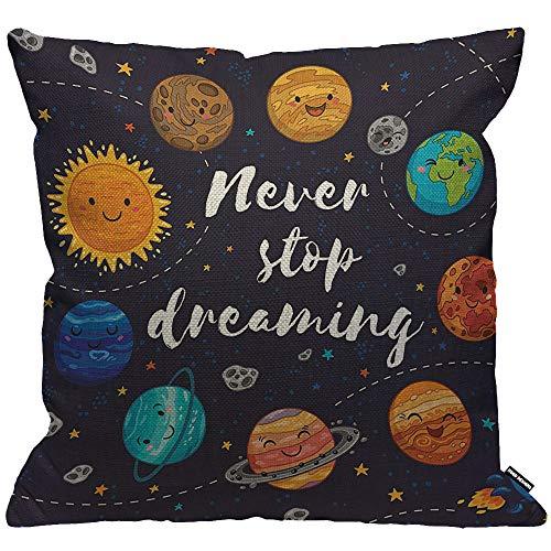 HGOD DESIGNS Kissenbezug Äußeres Leerzeichen Niedlich Planeten Und Stern Cluster Solar System Mond Und Kometen Sonne Kissenhülle Haus Dekorativ Für Wohnzimmer Schlafzimmer Sofa Kissenbezüge 45X45cm