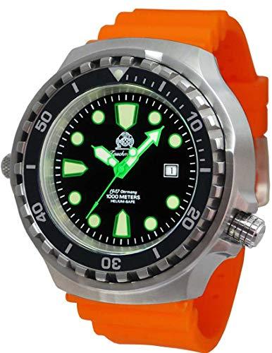 Tauchmeister T0328OR XXL - Reloj de buceo automático (100 atm, correa de caucho, 52 mm)