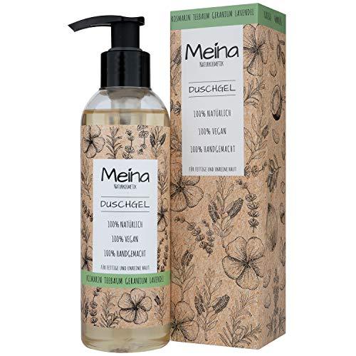 Meina Naturkosmetik - Duschgel mit Teebaum, Rosmarin, Geranium und Lavendel (1 x 220 ml) Vegan Bio Shower Gel - Natürliche Körperpflege