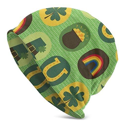 hdyefe St Patricks Day Feeling Lucky Beanie Men Women Unisex Soft Cuffed Plain Skull Knit Hat Cap Daily Knit Beanie