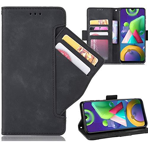 Miimall Handyhülle für Samsung Galaxy M21 / Galaxy M30S, Premium PU Leder Flip Hülle Wallet Hülle mit Kartenfach Magnetverschluss Standfunktion Lederhülle Schutzhülle für Samsung Galaxy M21 - Schwarz