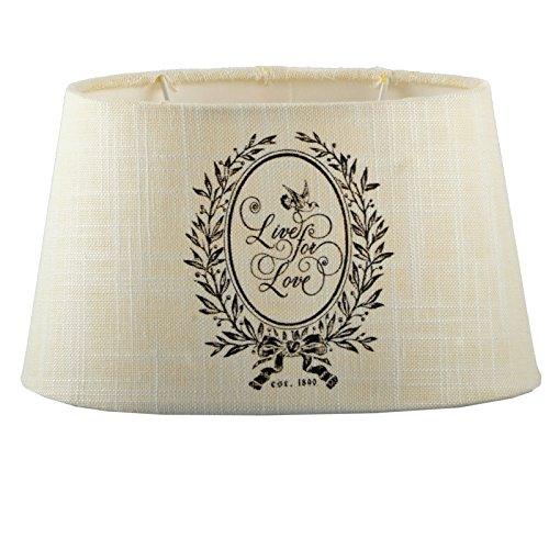 DRULINE Lampenschirm Stoff Textil Leinen Shabby Chic Landhaus Lampe Schirm NEU (Live For Love, Oval)