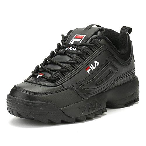 Fila Damen-Sneaker Disruptor Low Wmn 1010302-12v Top, Schwarz - Schwarz Weiß Fila Rot - Größe: 39 EU