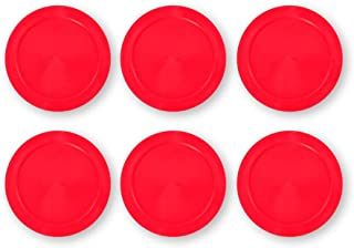 Lemon home Set of 6 Red Home Standard Air Hockey Pucks - Large Size for Adults 2.95 inches, 75mm