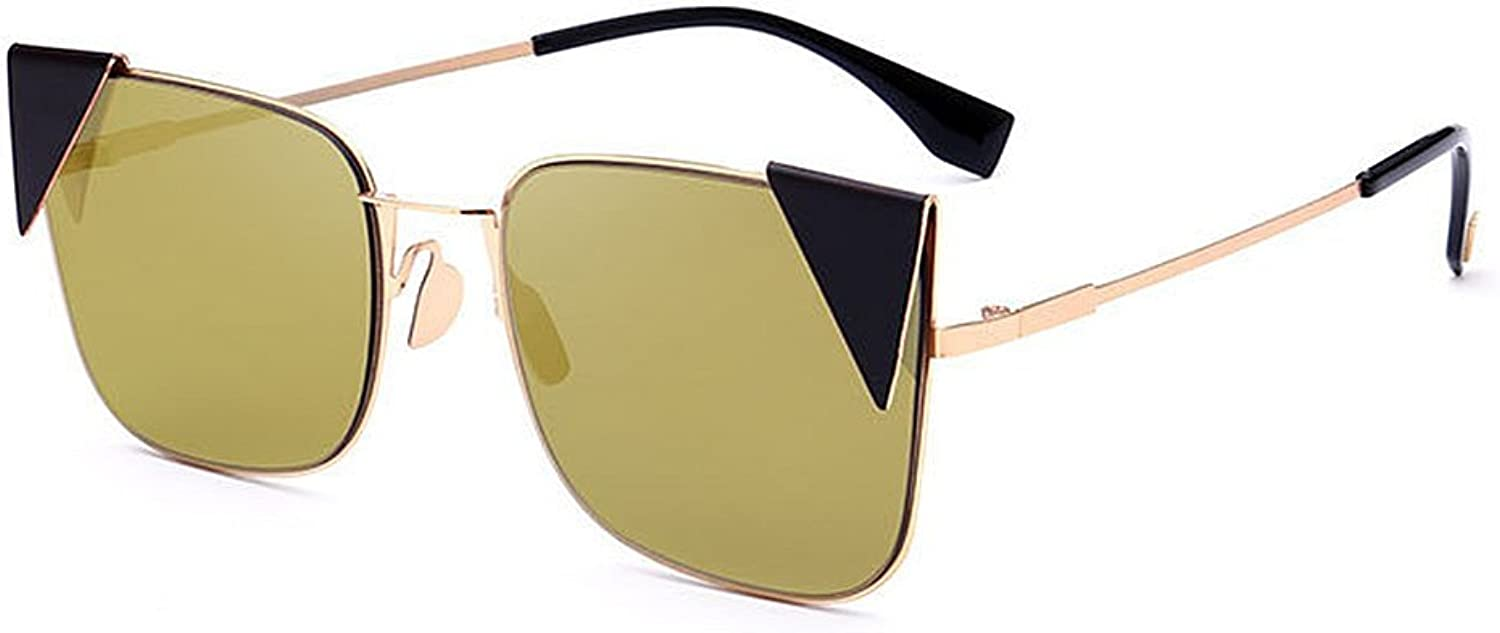 Cute colord Lens Lady's Cat Eyes UV Predection Sunglasses for Women Outdoor Driving Travelling (color   gold)