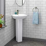Magnus Home Products Timberon Vitreous China Corner Pedestal Bathroom Sink, 17 3/4' L x 18...