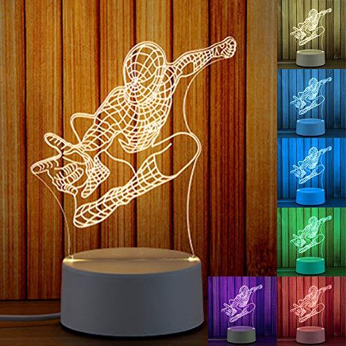 3D Lichter 3D Lampe Nachtlicht 3D Illusion Nachtlampe 3D Nachttischlampe Schreibtisch Tisch Nachtlicht 7 Farben ändern Touch+Fernbedienung Control (Spiderman)