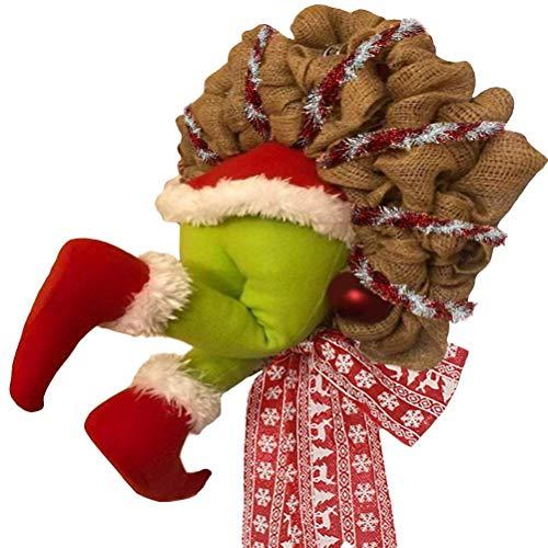 GPWDSN Corona de arpillera de Navidad, Guirnalda de arpillera, decoración de Corona de arpillera de Navidad, Exquisita Corona de Papá Noel para la Ventana de la Pared de la Sala de Estar, L