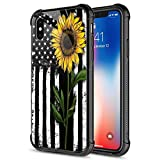 ZHEGAILIAN iPhone Xs Case, 9H Tempered Glass Sunflower and Flag iPhone Xs Case for Girls [Anti-Scratch] Fashion Cute Pattern Design Cover Case for iPhone X/XS 5.8-inch Sunflower Flag