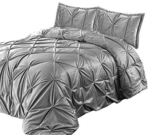 Lewima 3D XL Biesen Edel Luxus hochwertige Velvet Bettüberwurf Tagesdecke 220x240cm Überwurfdecke Farbe: Grau